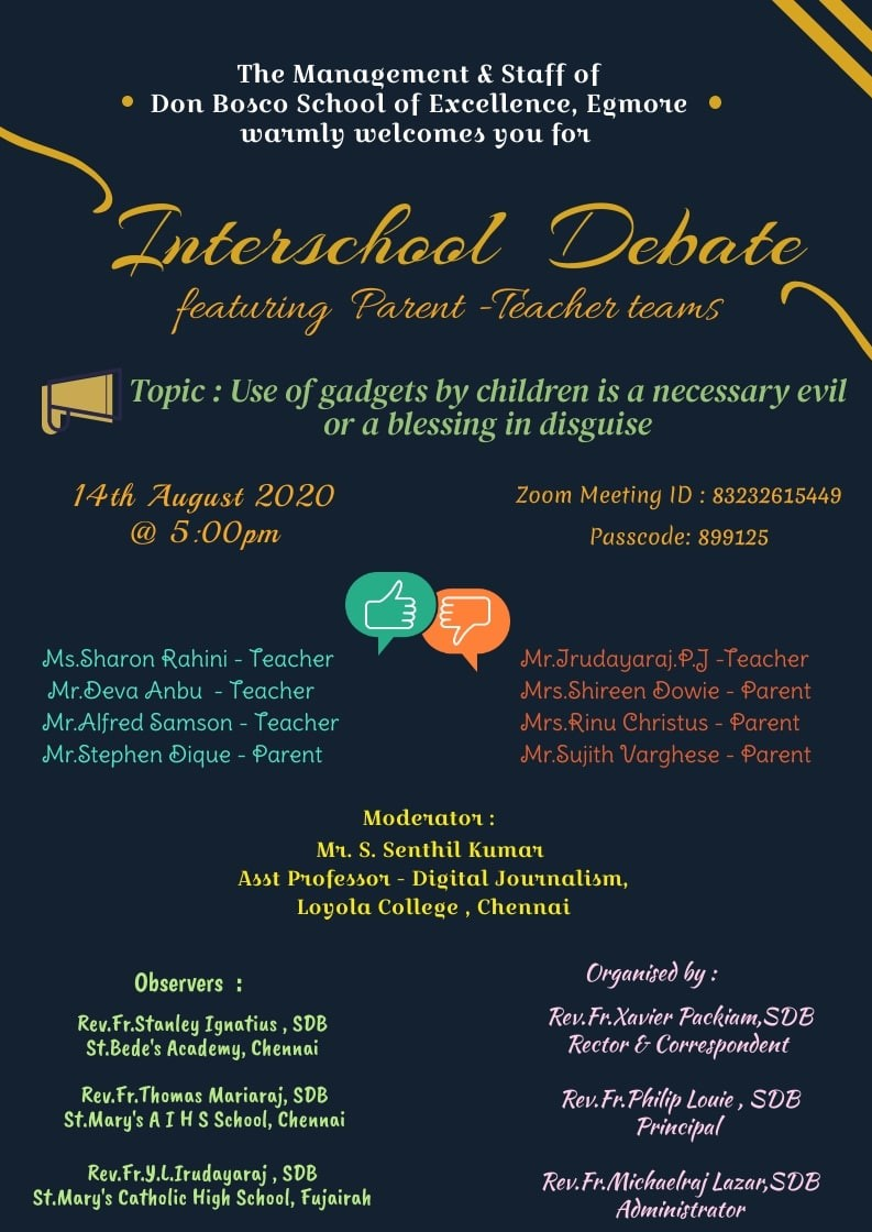 INTERSCHOOL DEBATE - Featuring Parent & Teacher teams